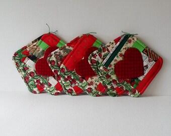 Handmade Coasters Cotton & Wool Christmas Mug Mats