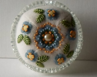 Handmade Pincushion Felted Wool Blue Blossoms Forget Me Not