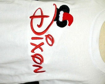 Boy's Disney Monogrammed Name or Initials Mickey Santa Clause Hat Ears Topper Shirt