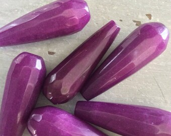 Jade Beads, Faceted Elongated Tear Drop, Purple, 29mm Long x 11mm Wide, 6 pieces