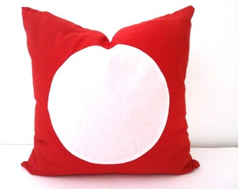 Red Throw Pillow Cover With White Circle, Geometric Circle Cushion, Free Shipping