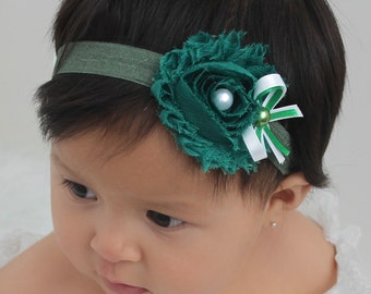 Flower Baby Headband, Flower Headband, Green Headband, Headband for Babies, Headband for Girls, handmade headband, Baby Girls Headband