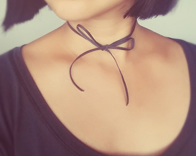 Leather Choker Necklace, Thin Leather Choker, Bowtie Choker, Minimalist Choker