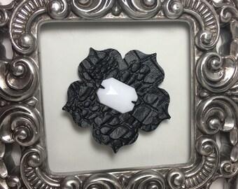 Black hair flower, faux black leather hair clip, couture black hair flower, black leather hair accessory, faux black alligator accessory.
