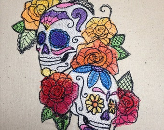 Dia de los Muertos - Two Sugar Skulls  - Made to Order on a Pillow or Dishtowel - Free Shipping