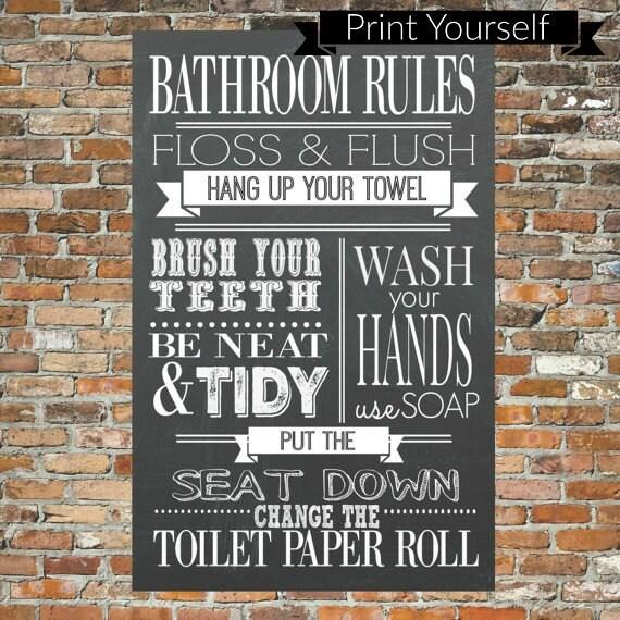 Bathroom Rules Chalkboard Print Bathroom Wall By Lilpeasprints