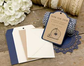 Vintage Bicycle Save The Date Luggage Tags (Blue) with Envelopes - Set of 25