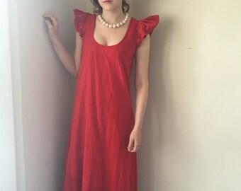 1960's red velvet floor length evening gown.