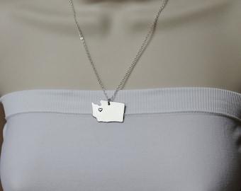 Washington State Necklace, ANY City State Necklace, WA Necklace, State Jewelry