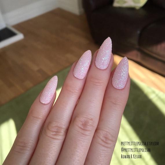 pastel pink glitter stiletto nails nail by prettylittlepolish