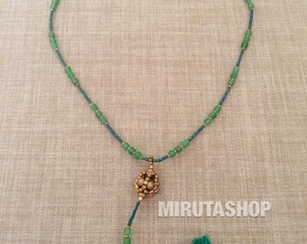Leaf Green and gold ethnic beads necklace