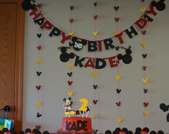 Mickey Inspired Birthday Banner, Birthday Banner, Mickey Mouse Birthday Party, oh Twoodles Birthday Party