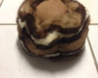 MINK fur & leather tri color brown vtg  hat size S 70s