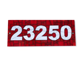 Custom Red and Gray Mosaic Outdoor House Number Plaque, Address Sign in Stained Glass