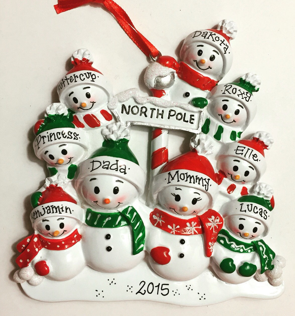 9 Family Personalized Christmas ornament / 9 by AdornamentsNY