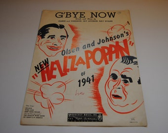 G'Bye Now/VintageSheet Music/1940/Great Sheet Music Cover/Hellz a Poppin'/Music Cover ARt