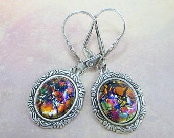 Black Opal Earrings Dangles Black Fire Opal Earrings RARE Vintage Jewels