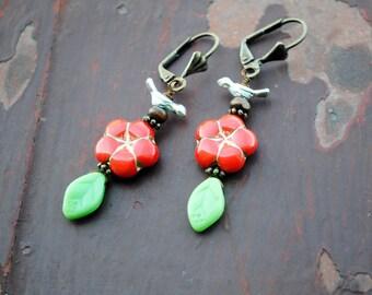 Boho Handmade earrings, Flower Earrings, Czech glass, Spring Earrings, bird earrings, Gypsy Bohemian earrings, whimsical earrings, gift