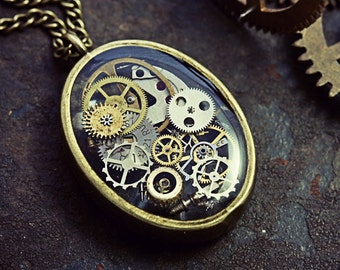 Watch Part Pendant Clockwork Necklace Resin Steampunk Industrial Terrarium Micro Watch Cogs Gothic Jewelry Neo Victorian Eco-Friendly Resin