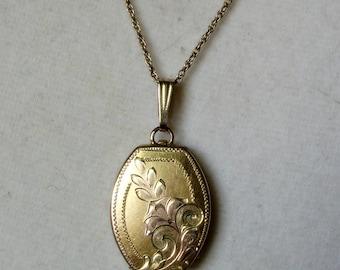 Vintage Gold Filled Locket, Art Deco Locket
