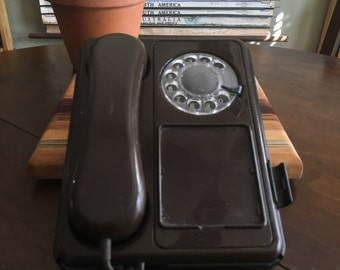 Vintage 1980s Brown Desk Rotary Phone
