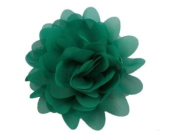 "Green - Set of 3 Large 4"" Chiffon Dahlia Flowers - LDF-007"