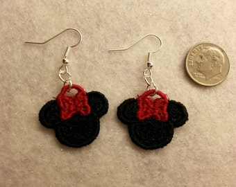 Minnie Mouse Embroidered  Earrings