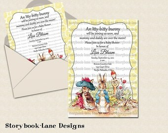 Peter rabbit and benjamin bunny Yellow Invitation for All Occasions