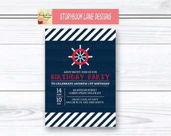 Dark Blue Nautical Birthday Invitation or for All Occasions