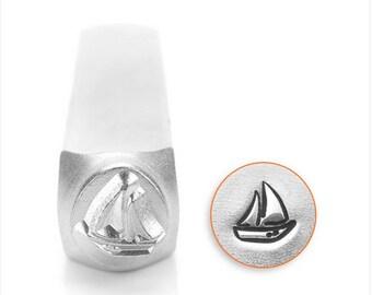 Sailboat design metal stamp 6mm , sailboat punch , metal stamping