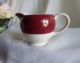 Antique Late 19th Century, Cream Pitcher, Burgundy and White with Gold Gilding