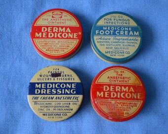 Vintage Medicine Sample Tins, Professional Packet, Hospital Packet, Lot of Four