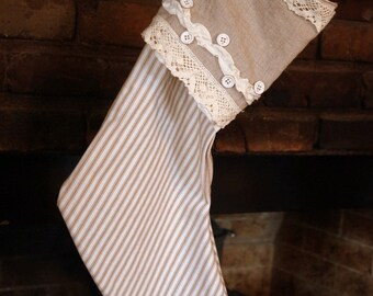 Taupe Ticking Stripe and Linen Stocking - Cottage Chic Stocking - Antique Stocking - Vintage Stocking