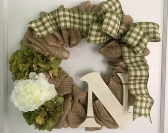 Burlap Initial Wreath