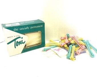 Vintage Toni Permanent Wave Curlers Original Box