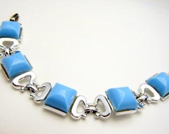 Baby Blue Lucite Silver Tone Vintage Bracelet