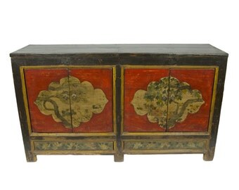 Antique Mongolian Storage Credenza with Painted Red Doors and Chinese Motif (Los Angeles)