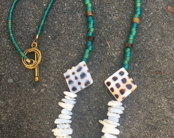 Turquoise n Shells  Trio Necklace