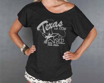 Women's Texas Graphic Tee, Women's Top, Texas State Tshirt- Loose Fitting T-shirt- Off the Shoulder Top- Women's Boho Top by Feather 4 Arrow