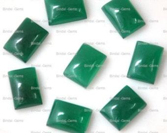 15 Pieces Wholesale Lot Wonderful Green Onyx Octagon Shape Cabochon Gemstone For Jewelery