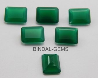 15 Pieces Wholesale Lot Wonderful Green Onyx Octagon Faceted Cut Gemstone For Jewelery