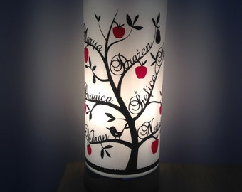 Family Tree Lamp - white lampshade with a tree in a colour of your choice
