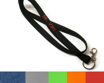 Monogrammed solid colors lanyard key chain: CHOOSE YOUR COLORS! Personalized lanyards for teacher, coworker, boss, teen, men, women.