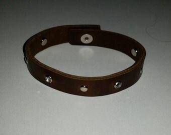 Premium BROWN Leather Stud Faux Diamond Snap Bracelet