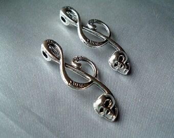 3 Tibetan Silver Music Treble Clef Skull Connector 17 x 40mm