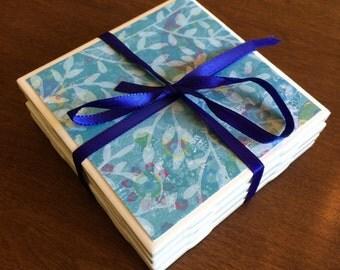Ceramic Tile Coasters - Blue Floral Design 01