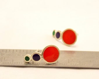 Drop stud earrings -  Sterling Silver Ear Studs - Green Purple Red - Bubble earrings -  Spring - Summer  - Valentine's Day