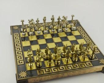 Godess Athena Chess Set (20X20cm) / Bronze chess board