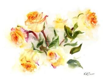 Orange and Yellow Roses -  Watercolor flower print - floral watercolor art