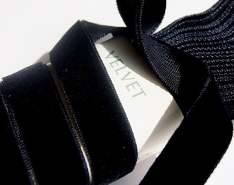 Vintage French Velvet Ribbon Wholesale 16mm Black Velvet Ribbon by the yard Jewelry Ribbon Craft Embellishments #24 Made in France
